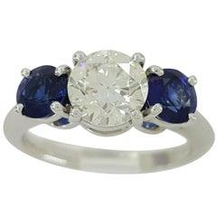 Tiffany & Co. Plat 2.16 Carat Three-Stone Round Diamond and Sapphire Ring