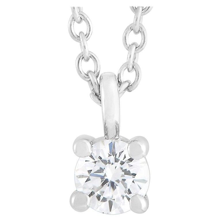 Tiffany & Co. Platinum 0.15 Carat Diamond Solitaire Necklace For Sale