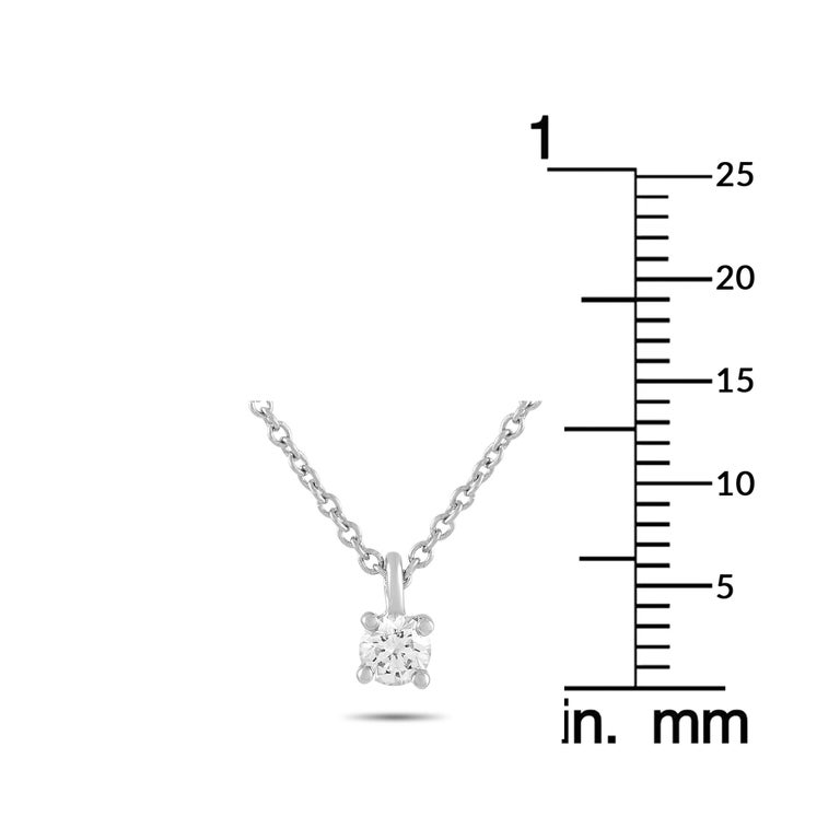 Tiffany & Co. Platinum 0.15 Carat Diamond Solitaire Necklace In Excellent Condition For Sale In Southampton, PA