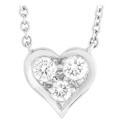 Tiffany & Co. Platinum 0.17 Ct Diamond Heart Pendant Necklace