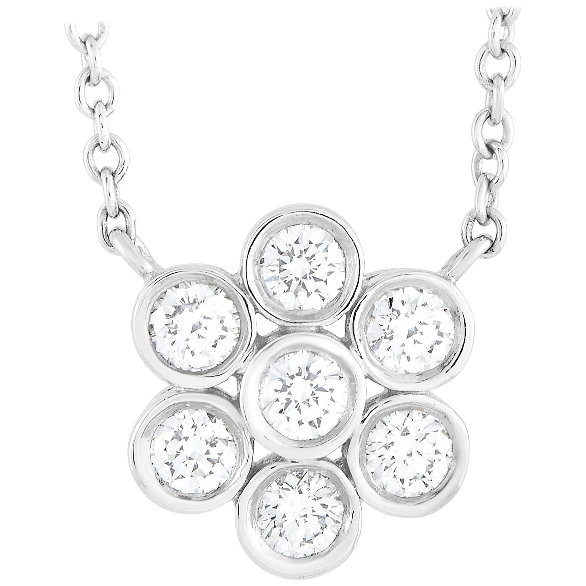Tiffany & Co. Platinum 0.25 Diamond Flower Pendant Necklace