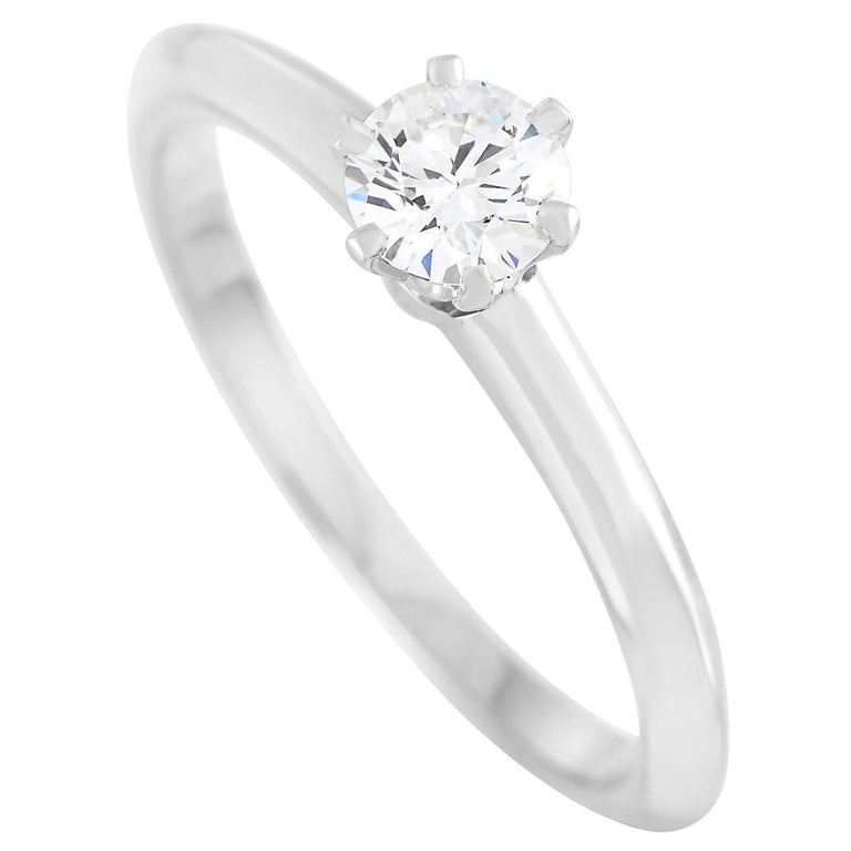 Tiffany & Co. Platinum 0.30 Carat Diamond F-VS1 Engagement Ring For Sale