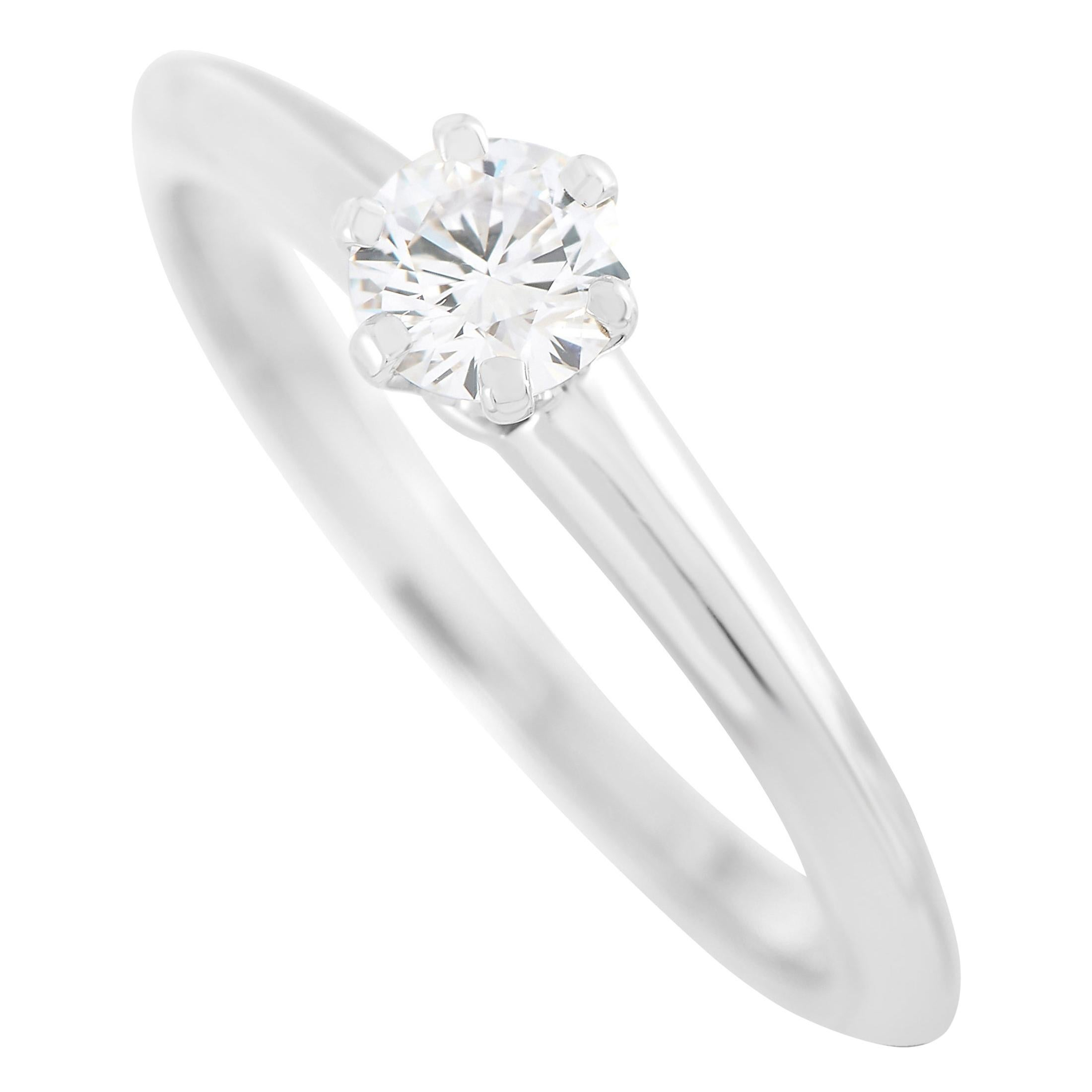 Tiffany & Co. Platinum 0.30 Carat F-VS1 Diamond Engagement Ring