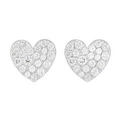 Tiffany & Co. Platinum 0.32 Ct Diamond Metro Heart Earrings