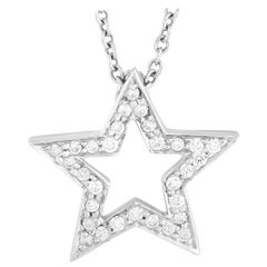 Tiffany & Co. Platinum 0.37 Ct Diamond Star Pendant Necklace