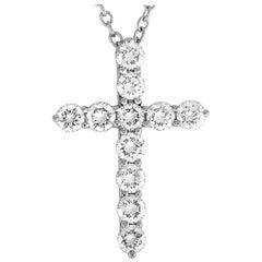 Tiffany & Co. Platinum 0.42 Carat Diamond Cross Pendant Necklace