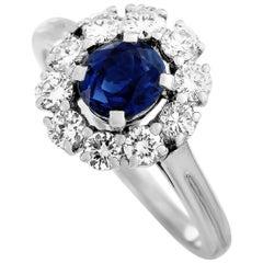 Tiffany & Co. Platinum 0.50 Carat Diamond and Sapphire Flower Ring