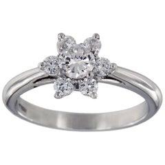 Tiffany & Co. Platinum 0.50 Carat VS-2 G Color Flower Diamond Ring