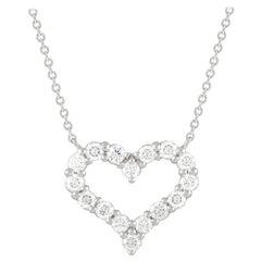Tiffany & Co. Platinum 0.54 Ct Diamond Heart Pendant Necklace