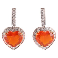 Tiffany & Co. Platinum 0.58 Carat Diamond 3.75 Carat Fire Opal Earrings