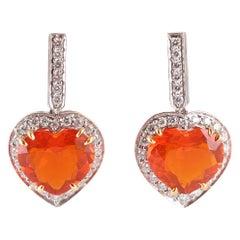 Tiffany & Co. Platinum 0.58 Carat Diamond 3.75 Carat Fire Opal Earrings