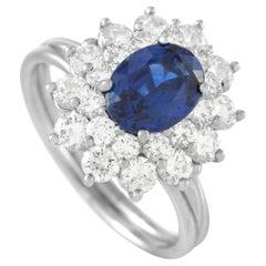 Tiffany & Co. Platinum 0.85 Ct Diamond and Sapphire Ring