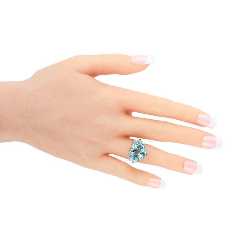 Round Cut Tiffany & Co. Platinum 1.00 Carat Diamond and Aquamarine Ring For Sale