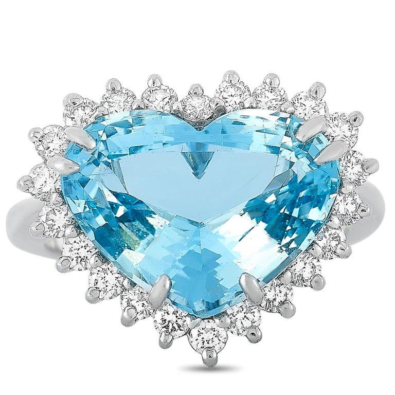 Women's Tiffany & Co. Platinum 1.00 Carat Diamond and Aquamarine Ring For Sale