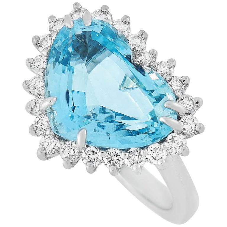 Tiffany & Co. Platinum 1.00 Carat Diamond and Aquamarine Ring For Sale