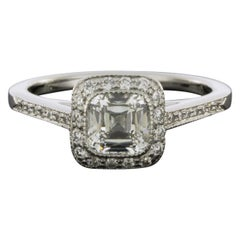 Tiffany & Co. Platinum 1.08 Carat Cushion Diamond Solitaire Engagement Ring