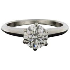 Tiffany & Co. Platinum 1.15 Carat Round Diamond Solitaire Engagement Ring