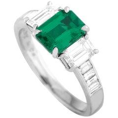 Tiffany & Co. Platinum 1.25 Carat Diamond and Emerald Ring