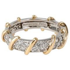 Tiffany & Co. Platinum & 18 Karat Yellow Gold Diamond Band, 7/8 Carat