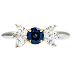 Tiffany & Co. Platinum/18 Karat Yellow Blue Sapphire and Diamond Victoria Ring