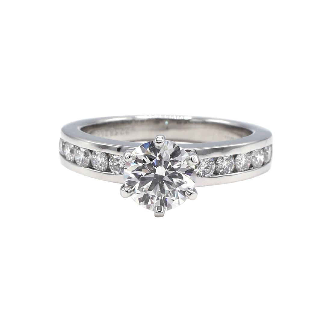 Tiffany & Co. Platinum .91 Carat F VVS1 Round Brilliant Diamond Engagement Ring
