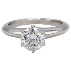 Tiffany & Co. Platinum .99 Carat Solitaire Round Diamond Engagement Ring