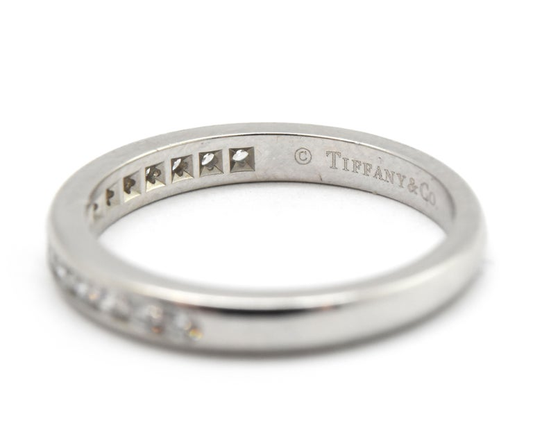 Modern Tiffany & Co. Platinum and 0.30 Carat Round Diamond Semi-Eternity Band For Sale