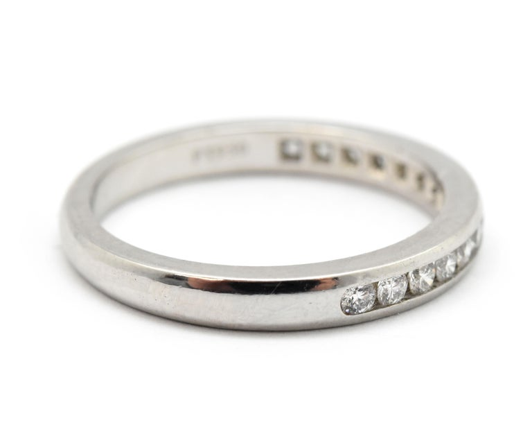 Tiffany & Co. Platinum and 0.30 Carat Round Diamond Semi-Eternity Band In New Condition For Sale In Scottsdale, AZ