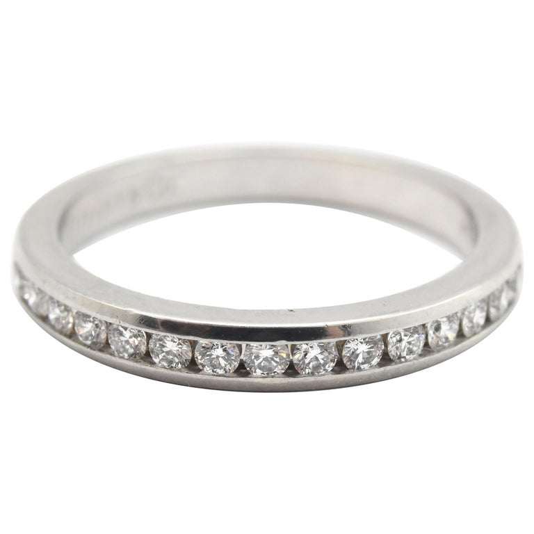 Tiffany & Co. Platinum and 0.30 Carat Round Diamond Semi-Eternity Band For Sale