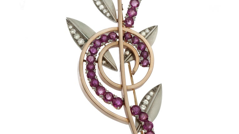 Round Cut Tiffany & Co. Platinum and 14 Karat Yellow Gold Retro Ruby and Diamond Brooch For Sale