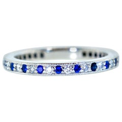 Tiffany & Co. Platinum and Diamond and Sapphire Band