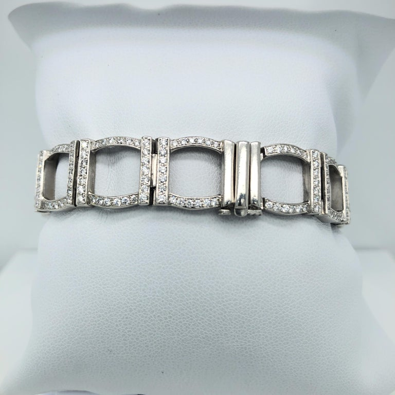 Tiffany & Co. diamond bracelet with window motif, set in platinum. Has a total of 6cts round cut diamonds. Stamped TIFANY & Co. PT950