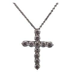 Tiffany & Co. Platinum and Diamond Cross Pendant and Chain