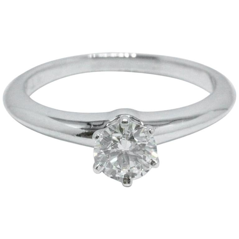 a91b96f47 Platinum and Diamond Engagement Ring Round 0.58 Ct I VS2 Complete For.  Tiffany & Co. Style: Tiffany 6-Prong Classic Solitaire Serial Number:  27658237