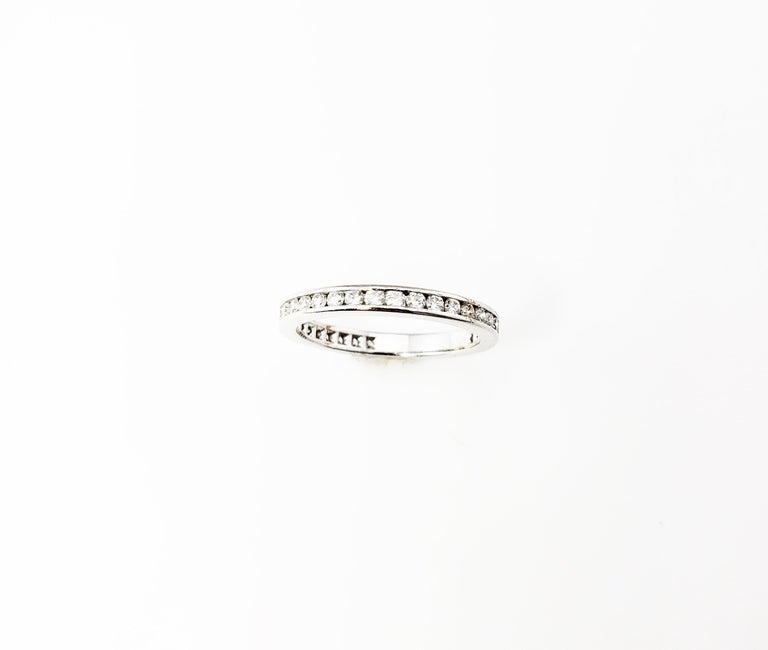 Tiffany & Co. Platinum and Diamond Eternity Wedding Band w/box For Sale 1