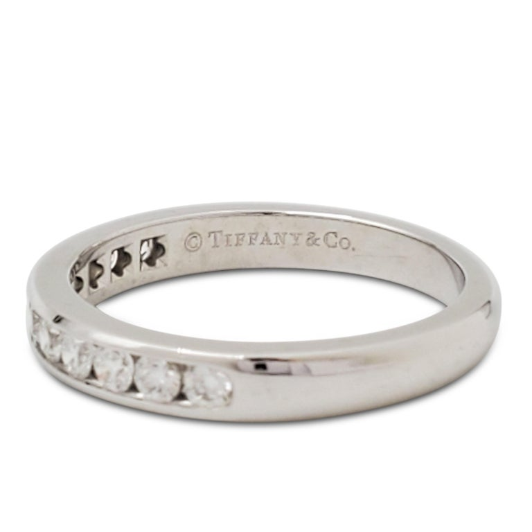 Women's Tiffany & Co. Platinum and Diamond Half-Band For Sale