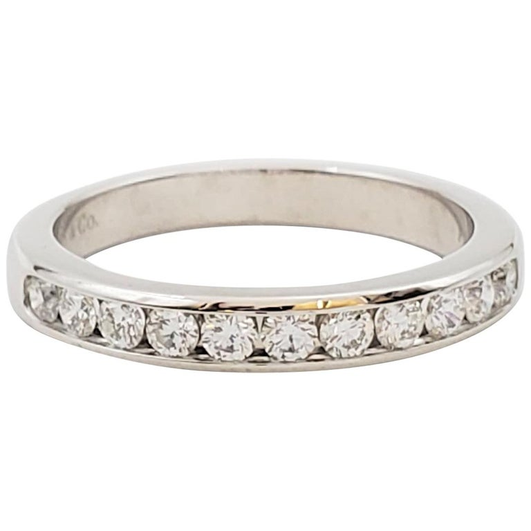 Tiffany & Co. Platinum and Diamond Half-Band For Sale