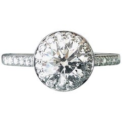 Tiffany & Co. Platinum and Diamond Halo Round Engagement Ring .51 Carat G VVS2