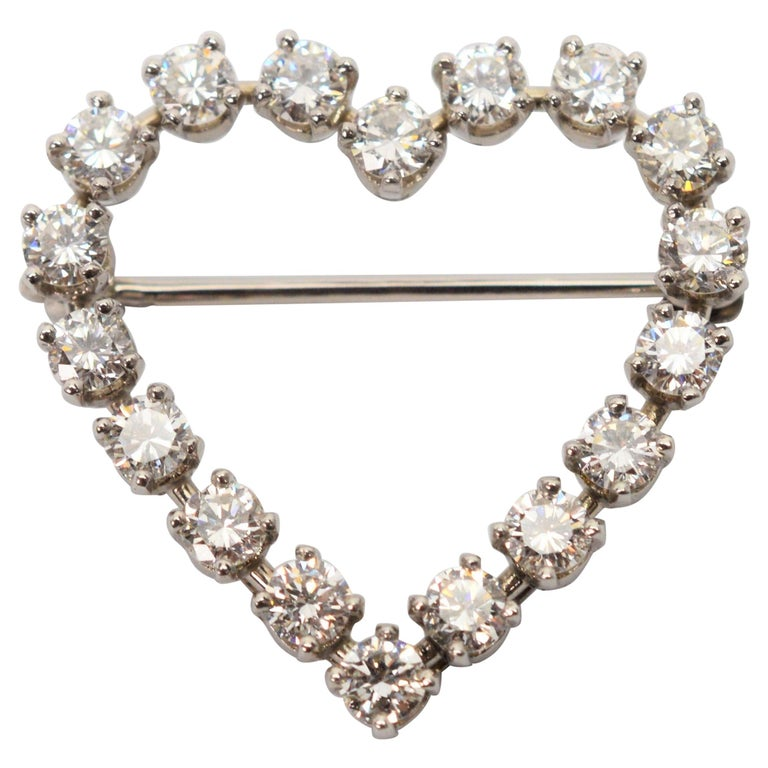 Tiffany & Co. Platinum and Diamond Heart Pin Brooch