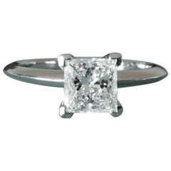 Tiffany & Co. Platinum and Diamond Princess Cut Ring .57 Carat D VS2
