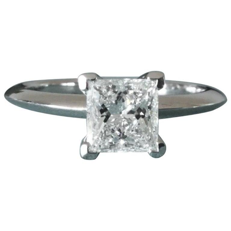06128a064 Tiffany & Co. Platinum and Diamond Princess Cut Ring .79 Carat F VS1 For
