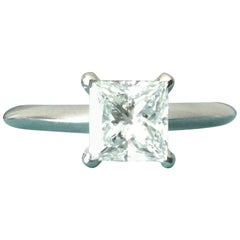 Tiffany & Co. Platinum and Diamond Princess Cut Ring 1.13 Carat F VS1