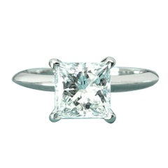 Tiffany & Co. Platinum and Diamond Princess Cut Ring 1.71 Carat H VS1