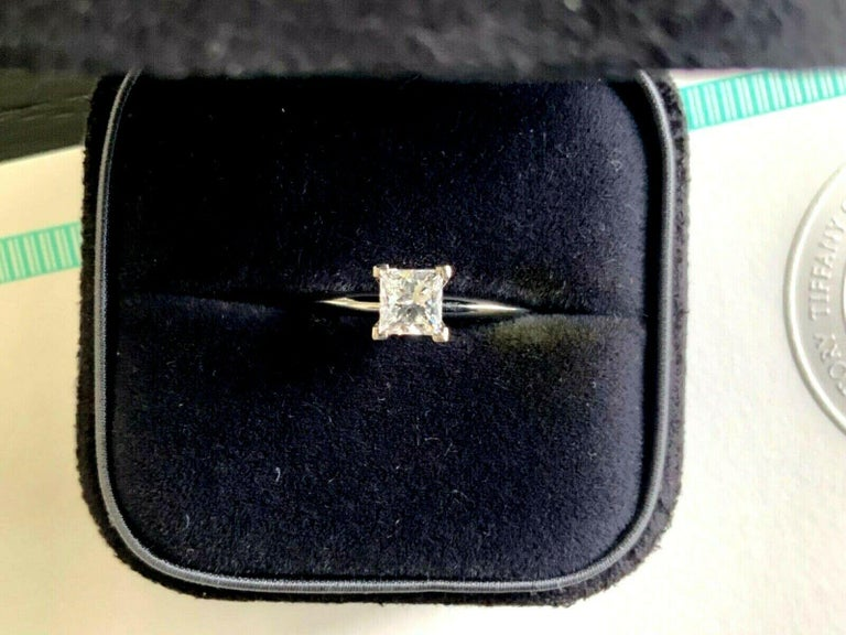 Tiffany & Co. Platinum and Diamond Princess Cut Ring .57 Carat E VS2 For Sale 8