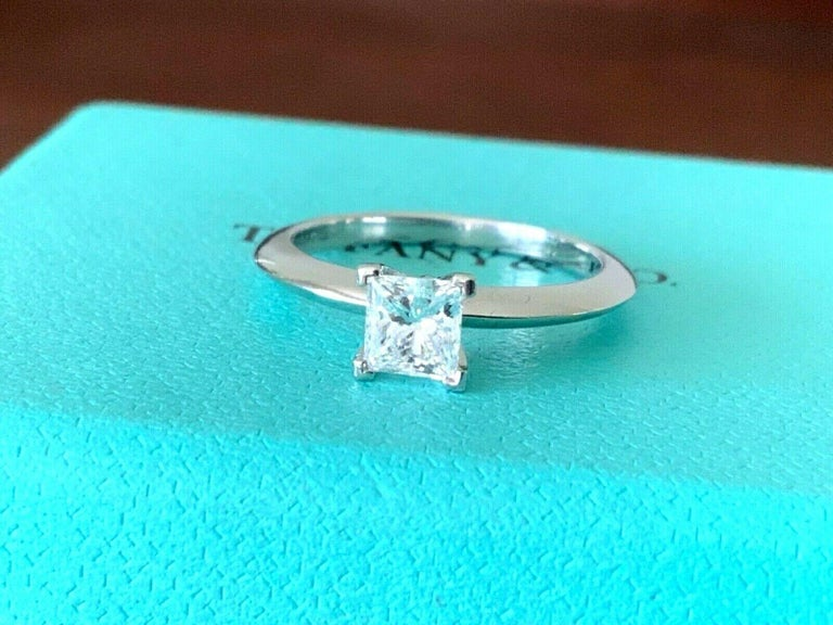 Tiffany & Co. Platinum and Diamond Princess Cut Ring .57 Carat E VS2 For Sale 4