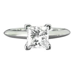 Tiffany & Co. Platinum and Diamond Princess Cut Ring .57 Carat E VS2