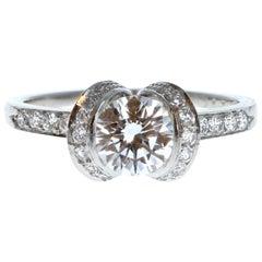 Tiffany & Co. Platinum and Diamond Ribbon Ring 1.07 Carat E VVS1