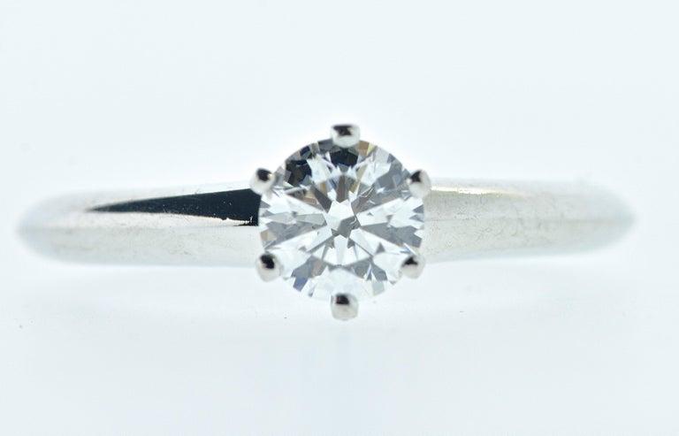 Brilliant Cut Tiffany & Co. Platinum and Diamond Ring For Sale