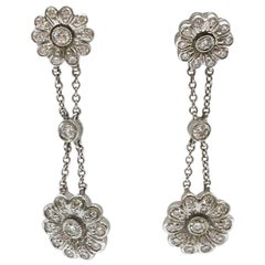 Tiffany & Co. Platinum and Diamond 'Rose' Double Drop Earrings