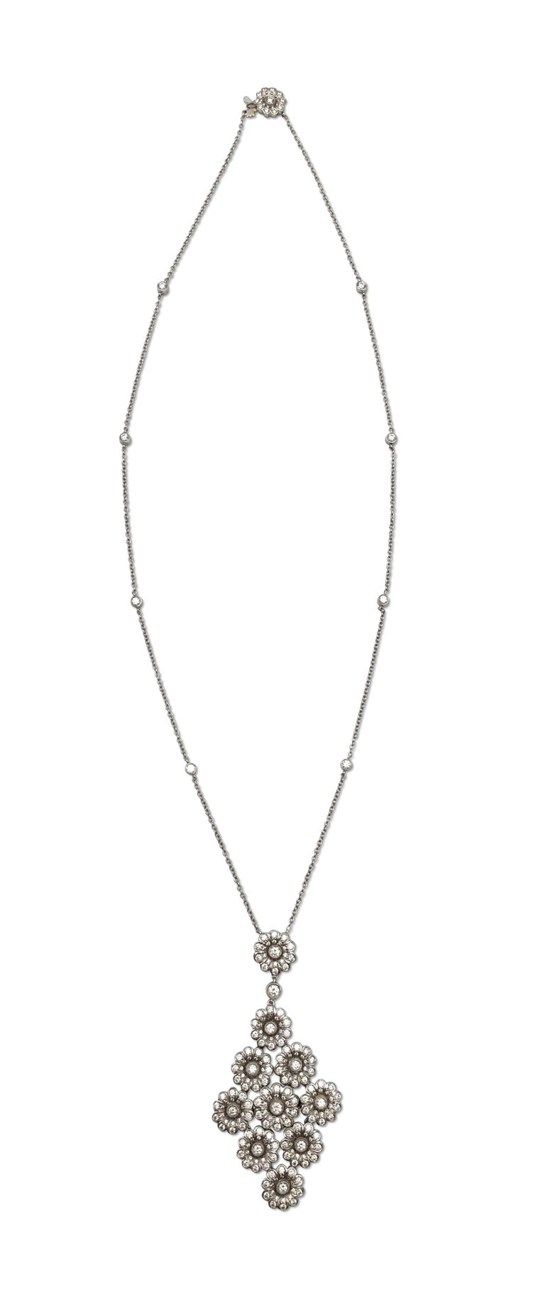 Round Cut Tiffany & Co. Platinum and Diamond 'Rose' Drop Pendant Necklace For Sale